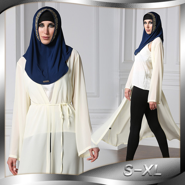 Musulman Kaftan Cardigan À Manches Longues Maxi Dress Vêtements Marocains Islamique Turquie Abaya Arab Dubaï Jalabiya Robe Femmes Robe En Vrac J190645