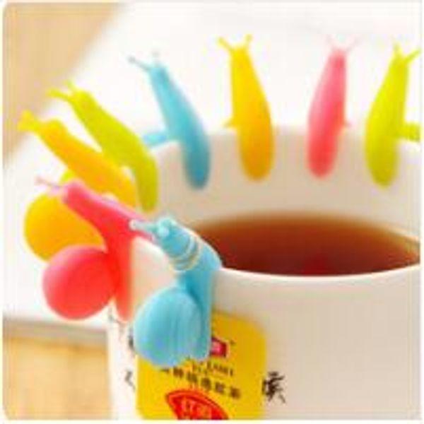 Neue Ankunft Candy Farben Nette Schnecke Form Silikon Teebeutel Halter Tasse Becher Teebeutel Clip Geschenk Set 460 stücke