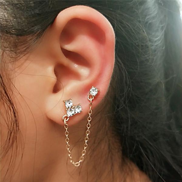 Cuff Chain Earrings Wrap Tassel Earrings with drill for Women Crawler Earrings