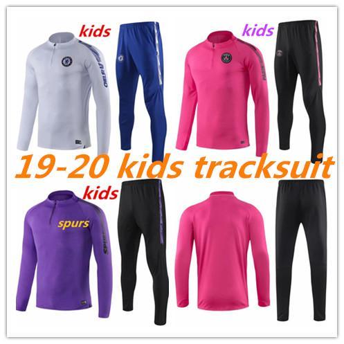 Crianças 2019 2020 psg treino de futebol Criança MBAPPE CAVANI DE BRUYNE PERIGO pedro spurs KANTE treino de futebol terno 19 20 Crianças correndo
