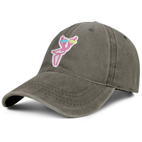 Neon flamingo young men Sport Denim baseball hat stylish adjustable women's fishing cap vintage golf cap mesh hats