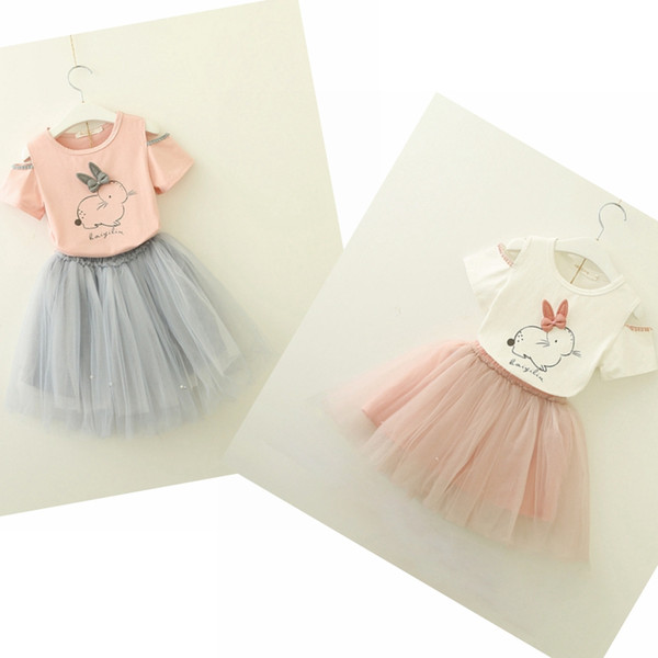 Baby clothes girls Easter bunny floral T-shirt+lace pearl tutu dress kids clothing set girl's outfits children suit kids summer boutique clo