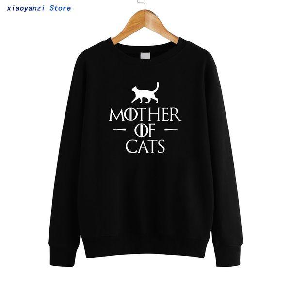 mother of cats printed women fashion sweatshirts clothing plus size pullovers hoodies funny cat cotton 2019 women sweatshirt