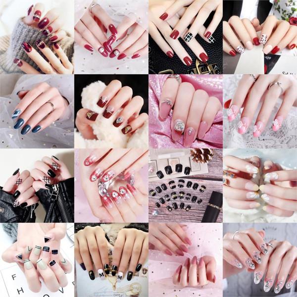 22 Стиль Розовый Обнаженный Французский Поддельные Ногти Squoval Квадратный УФ-Гель Ложный Пресс на ногтях для Девочки Полное Покрытие Носить Палец Советы Nail Art