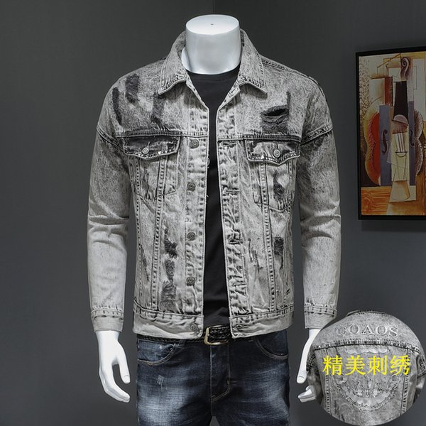European and American style brand 2019 new denim clothing men's embroidery Korean version of the trend of retro slim spring hole jacket