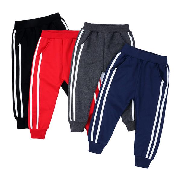 top popular 4 Color Sports Girls Boys Pants White Striped Candy Color School Cotton Spring Autumn Pant Leggings Trouser Children Kid Leggins B1 2021