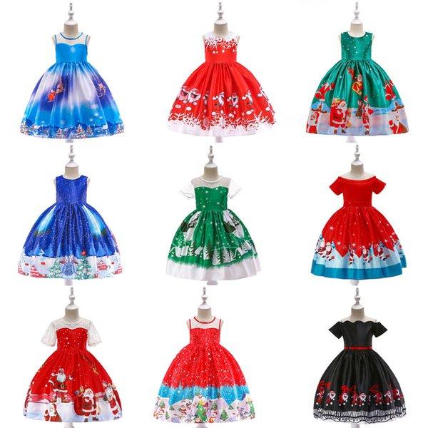 Menina vestido de princesa 14 projeto dos desenhos animados do floco de neve impresso arco de natal full dress crianças roupas de grife meninas do bebê menina vestidos 07