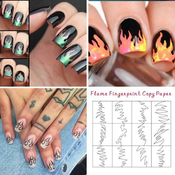 Compre El Más Nuevo Es Llama De Fuego Pegatinas De Uñas Láser Neón Diseños Coloridos 3d Nail Art Sticker Decal Accesorios Envío De La Gota A 3468