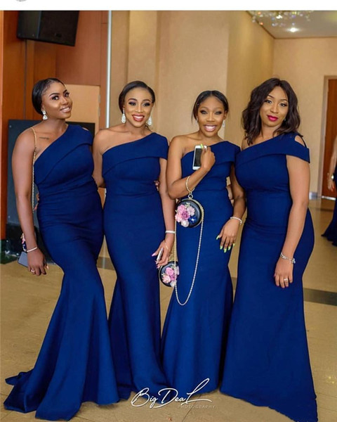 Cheap Sexy Mermaid One Shoulder Royal Blue Bridesmaid Dresses Patterns African Nigerian Bridal Gown Plus Size Formal Dresses Free Shipping