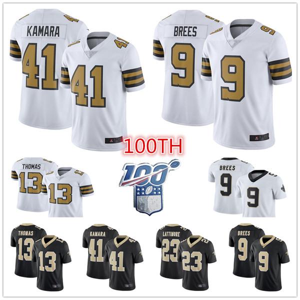 top popular Men 41 Alvin Kamara New 9 Drew Brees Saints Jersey Orleans 13 Michael Thomas 7 Taysom Hill 56 Demario Davis american Football Jerseys 2019