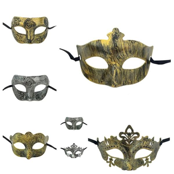 mode Danse Party Masque Homme Femme Artificial Baron masque couleur visage capot grec ancien Rome Halloween masque T2I5697 8style