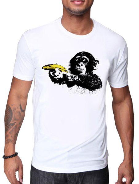 MENS T-SHIRT WITH FUNNY MONKEY USING YELLOW BANANA AS GUN BLACK&WHITE DESIGN jersey Print t-shirt