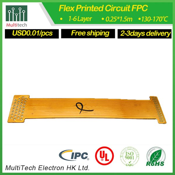 Double sides FPC for camera yellow coverlay with ENIG finished fast delivery and 0.01usd per one from mulittech factory