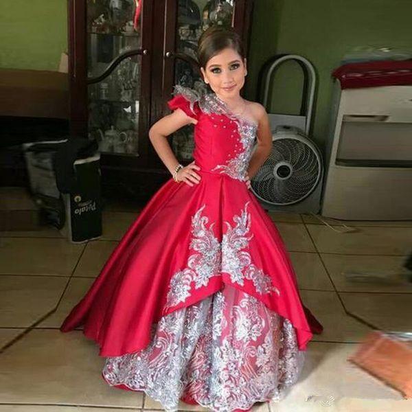 Compre Un Hombro Vestido Rojo De Las Muchachas De Flor Para El Banquete De Boda Apliques Encaje Apliques Niño Concurso Vestido De Satén Niño Vestidos