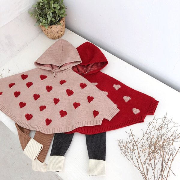 Cute Baby Girls Love Embroidered Knitted Sweater Hoodie Capes Poncho with Hats Candy Red Beige Color Spring Autumn Outwears