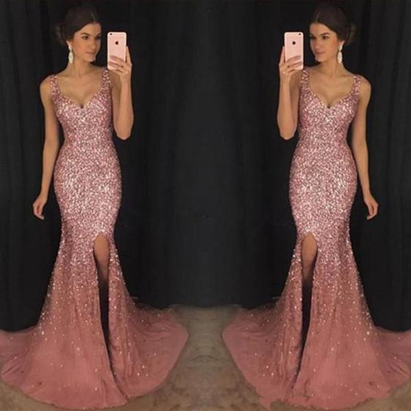 Vestidos de baile completo de cristales de sirena Vestidos de fiesta 2019 correas espaguetis rosa vintage Lado partido abalorios trompeta Vestidos de fiesta largos por la noche