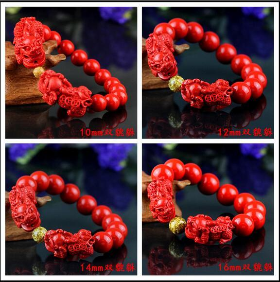 China red 8-16mm carved beads Pixiu elastic bracelet natural red organic cinnabar fashion men and women luck amulet gift
