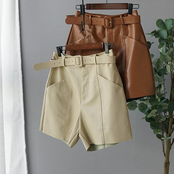 2020 spring new arrival women pu leather shorts streetwear high waist with belt wide leg faux leather shorts daily clothing - from $27.59