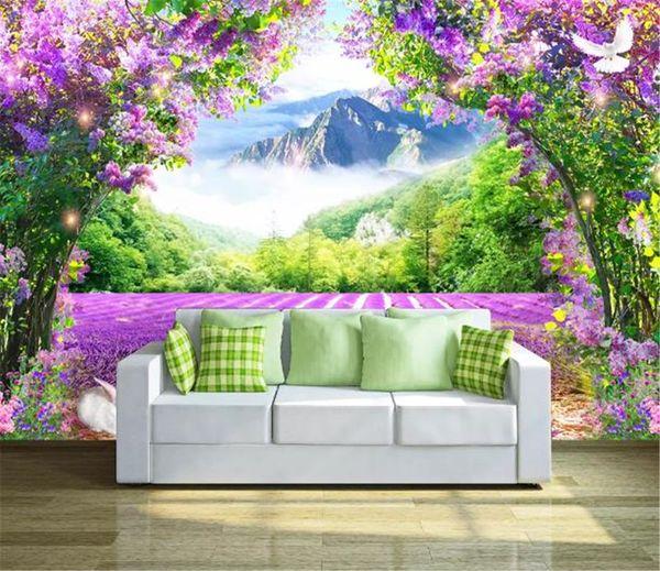 Fondo de pantalla 3D personalizado flor de la lavanda soporte montañas y el paisaje del mar 3D Flores Salón Dormitorio decoración de la pared Wallpape