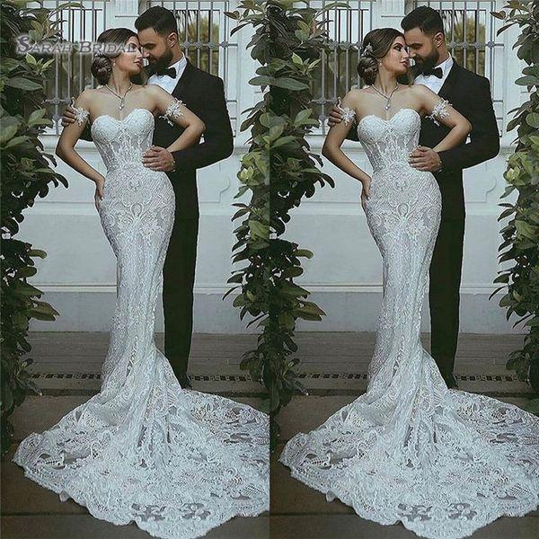 best selling 2020 Mermaid Sleeveless Sweetheart Appliques Vestidos De Novia Wedding Dress Sexy Bridal Gown Plus Size Bride Dresses