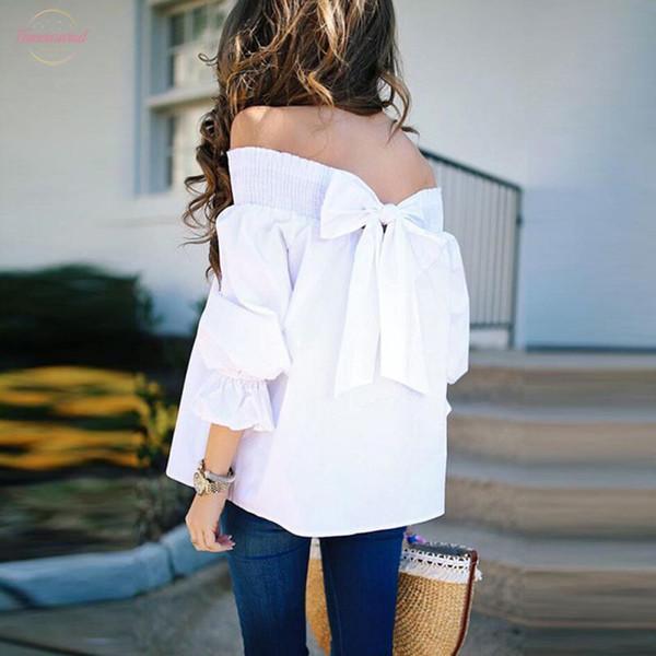 Sexy New épaules Chemisier bretelles femmes d'été demi-manches Hauts bowknot Slash cou Chemises habillées en vrac