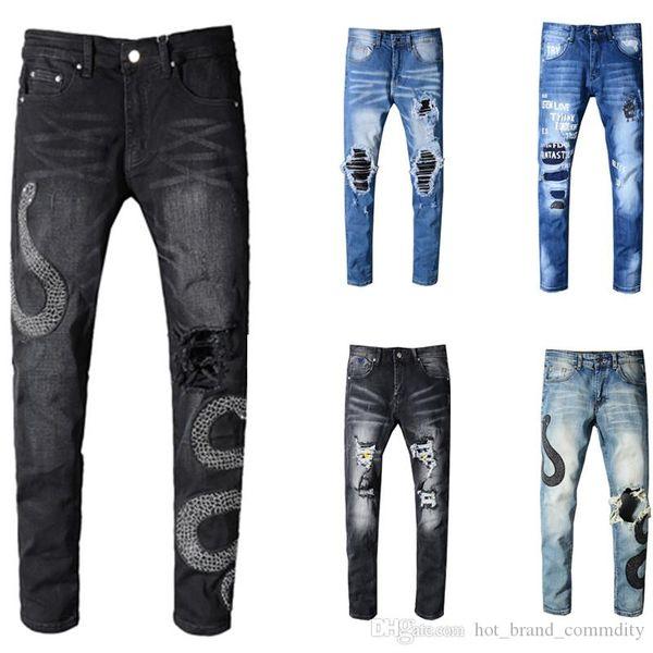 Amir Skinny marque de jeans concepteur costume jeans hommes longue rippés top jeans motards de luxe de la mode de qualité pour les hommes