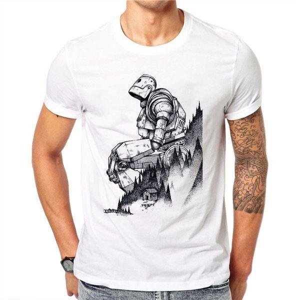 100% хлопок мужская футболка робот рисунок белый принт летняя мода футболка мужской с коротким рукавом о-образным вырезом плюс размер 4XL рубашка мальчиков