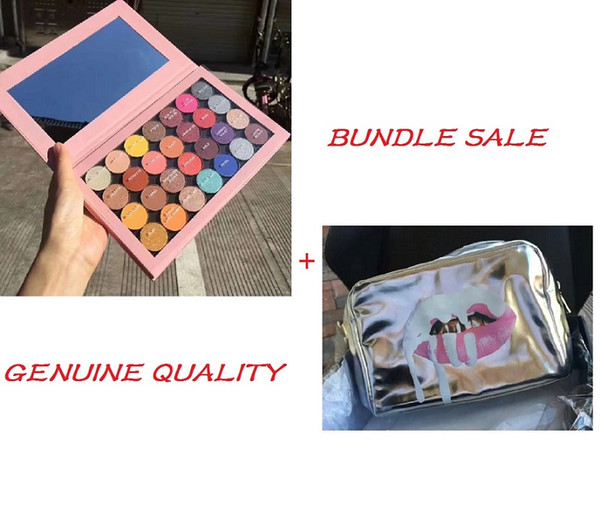 Hot Brand Cosmetic Bundle Wholesale Pink One Open Eyeshadow Palette+Silver Zipped Makeup Bag Shimmer Eye Pigmented Shadow 28 Colors Free DHL