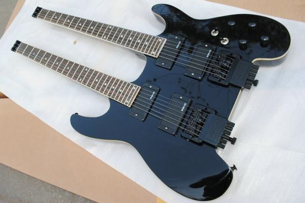 New Custom Black Steinberger Double Body Headless Electric Guitar Double Guitar 24 Fret overlord of music headless bridge good EMGHZ Pickups