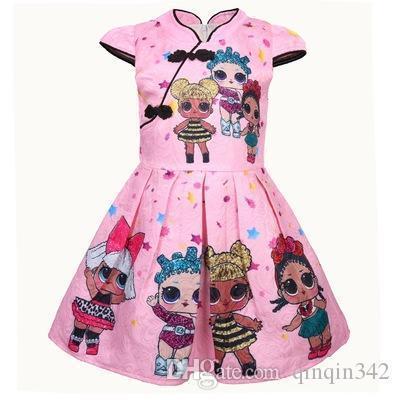 2019 cheongsam baby girl clothes new cartoon children's dress digital printing in children's big-eyed doll a-line skirt