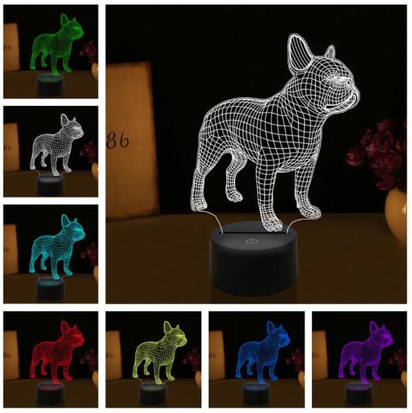 Nuevo 3D LED Lindo Cachorro Bulldog Francés RGB 7 Colores Cambio Auto Mesa Luz de Noche Niños Rom Decoración Niños Niños Acción de Gracias Navidad Regalos de Cumpleaños