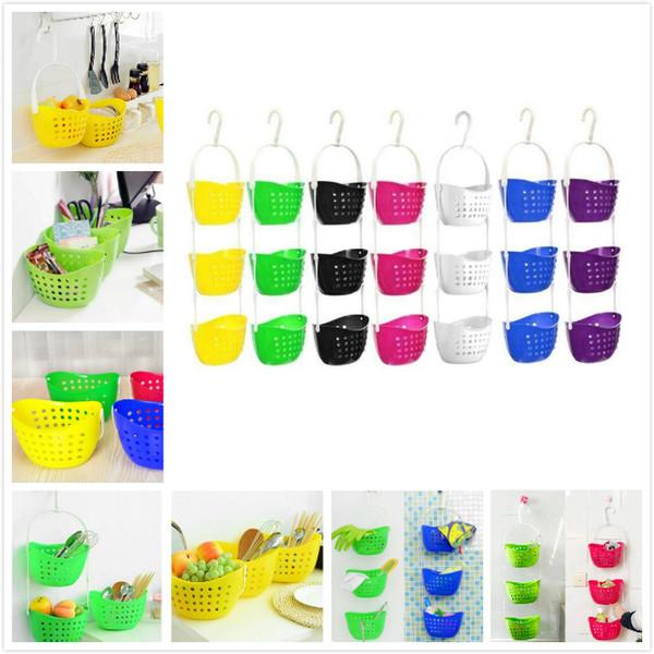 3 niveles que cuelgan cesta de almacenamiento caddy ducha baño estante cocina frutas vegetales cestas de plástico colgando sobre cesta cesta colorida ducha