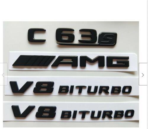 Все Матовый Черный C63s AMG V8 BITURBO Эмблемы для Mercedes Benz W205 C205