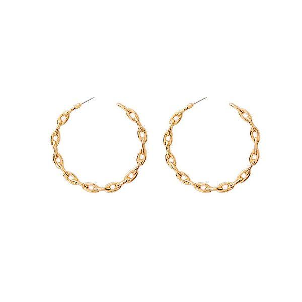 2019 Alloy Trendy Weave Hoop Earring for Women Simple Punk Hollow Big Earrings Fashion Geometric C Shaped Metal Earrings Bijoux
