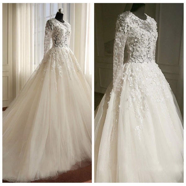 Discount Floral Jewel Neck White A Line Wedding Dresses With