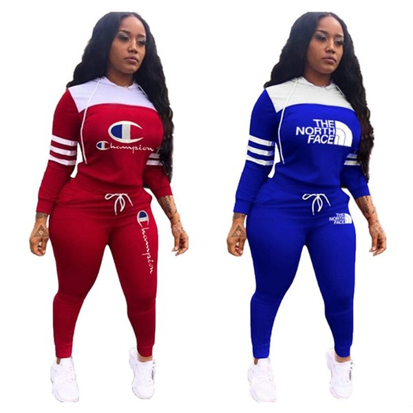 Campeão Mulheres The North Treino Camisola encapuçado Hoodie Pants Leggings NF face Patchwork Marca Sportwear Two Piece Suit Outfits C120901