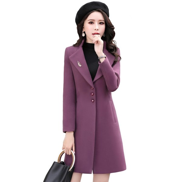 Long Wool Coat 2019 Autumn Winter New Korean Plus Size Slim Women Long Sleeve Woolen Coat Casual Wool Jacket Ladies Overcoat 3XL