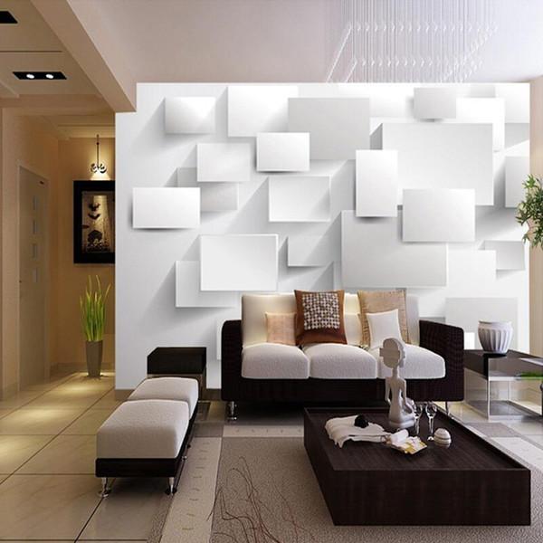 Gros-moderne sur mesure 3D stéréoscopiques grande peinture murale Wallpaper Box Cube 3D Wall Paper Salon Canapé Backdrop Chambre Mural Wallpaper