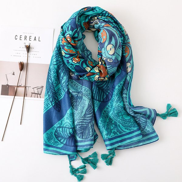 Cotton and Linen Scarf Blue Sun Flower Sunscreen Air Conditioning Shawl Beach Towel Tourism Spring and Summer Women Folk-custom Long Section