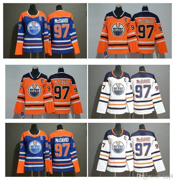 НХЛ Женщины Эдмонтон Ойлерз Джерси 97 Коннор МакДэвид Оранжевый Whiite Blue Kids Коннор МакДэвид Сшитая молодежная хоккейная майка
