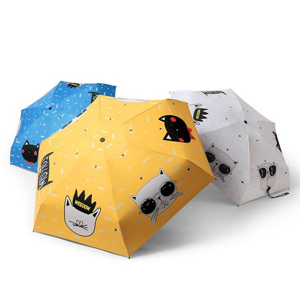Guarda-chuva das mulheres Gato Dos Desenhos Animados Anti UV Três Dobrável e Cinco Folding Parapluie Preto Revestimento Sun Feminino Guarda-sóis 50y060