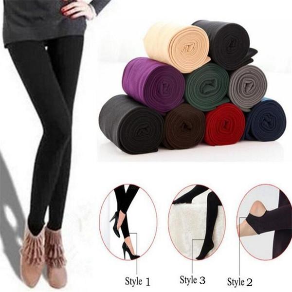 Rahat Moda Güz / kış Renkli Kadınlar Streç Pantolon Tayt Kalın Astarlı Polar Sıska Ince Tayt Giyim 2019