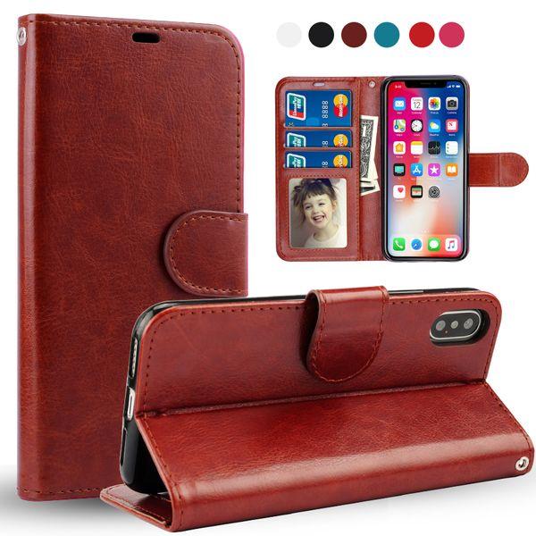 Para iPhone XS MAX XR X 8 7 Plus Funda de cuero con soporte Retro Flip Stand Wallet Funda de teléfono PhotoFrame para Samsung S9 S10 PLUS