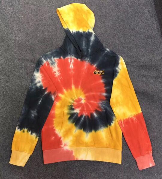 Novo JUSTIN BIEBER tirou casa TIE-DYE HOODIE camisola tie-tingidos moletom com capuz de manga comprida camisa de algodão assentamento S-XL