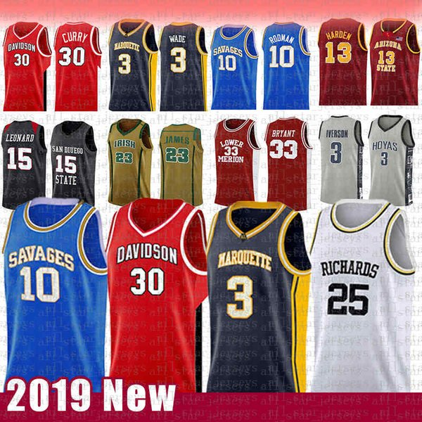 best selling 30 Stephen NCAA Curry Davidson Wildcats College Basketball Jersey 3 Dwyane 10 Dennis 25 Wade Rodman RICHARDS Marquette Golden Eagles MENS