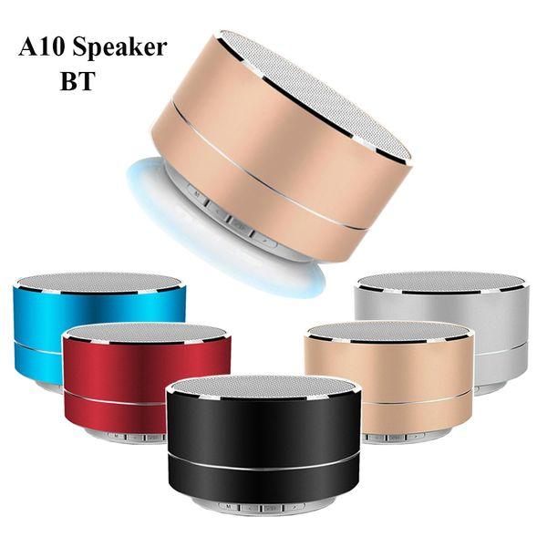 A10 Altoparlante Bluetooth senza fili Metallo Mini subwoofer portatile con microfono Scheda TF Radio FM AUX MP3 Riproduzione musicale Altoparlante In confezione da vendita