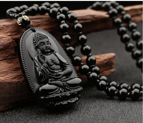 Природный обсидиан Гуаньинь Будда Подвеска Men039; s Wear Гуаньиньте Women039; s Dai Будда Пар Ожерелье Ветер Национального