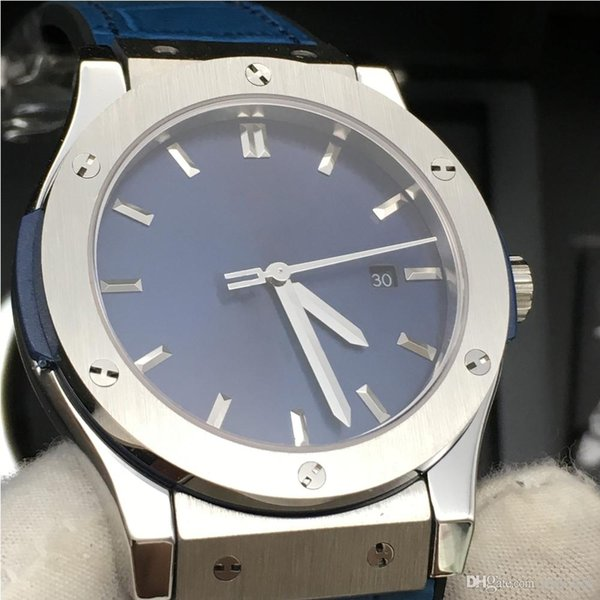 Klassische Herrenuhr 42mm Automatik 2813 Bewegung mechanische Uhren Lederband Sappire Kristall Male Armbanduhr-Geschenk 511NX