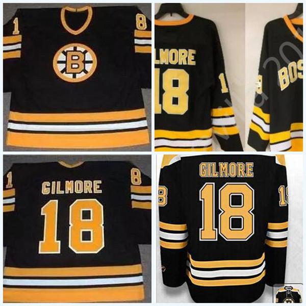Herren Gilmore Vintage Boston Bruins Trikot 18 Happy Gilmore Schwarz Gelb Alternative Stickerei Retro Mischungsauftrag Größe S-3XL Hockey Trikots