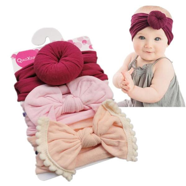 Accesorios para el cabello para niñas 3Pcs Kids Elastic Knot Headband Hair Girls baby Bowknot bandas Headwear Hairband Set